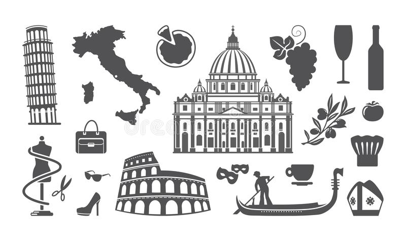 Traditional Symbols Of Italy Stock Vector Illustration Of Bottle