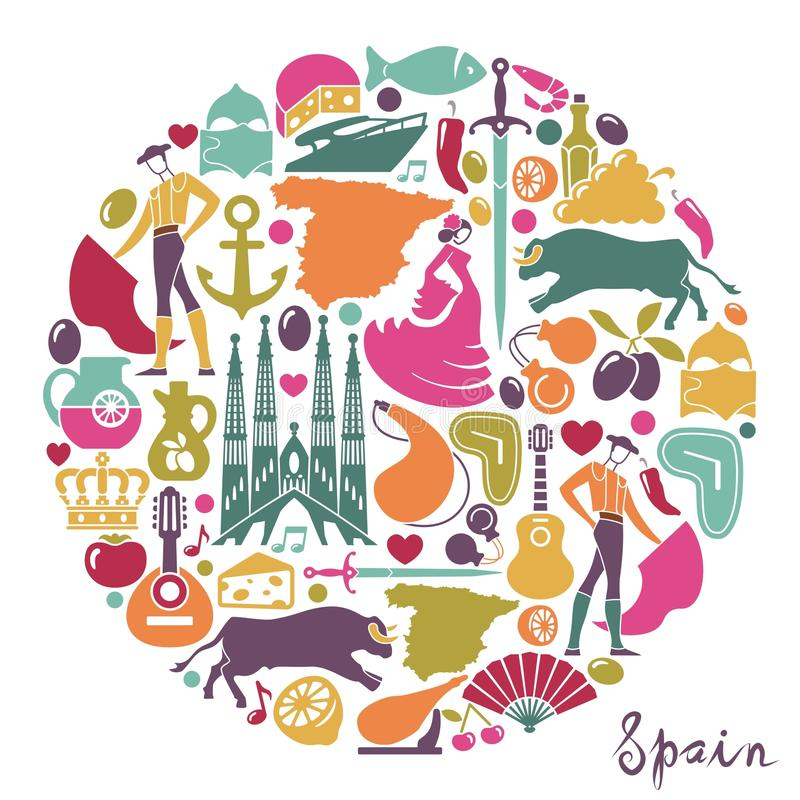 Traditional Symbols Of Spain Stock Vector Illustration Of Design