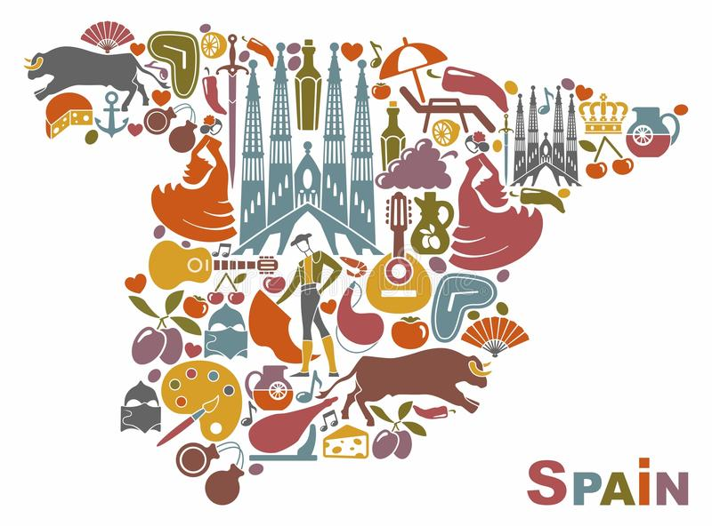 Traditional symbols of Spain in the form of a map vector illustration