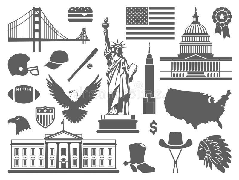 Traditional symbols of the USA. Traditional symbols of architecture and culture of the USA royalty free illustration