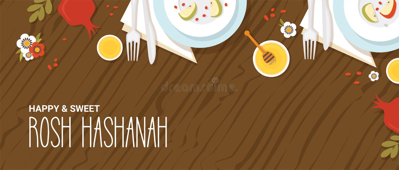 Traditional table for Rosh Hashanah, Jewish new year, dinner with traditional symbols. vector illustration template vector illustration
