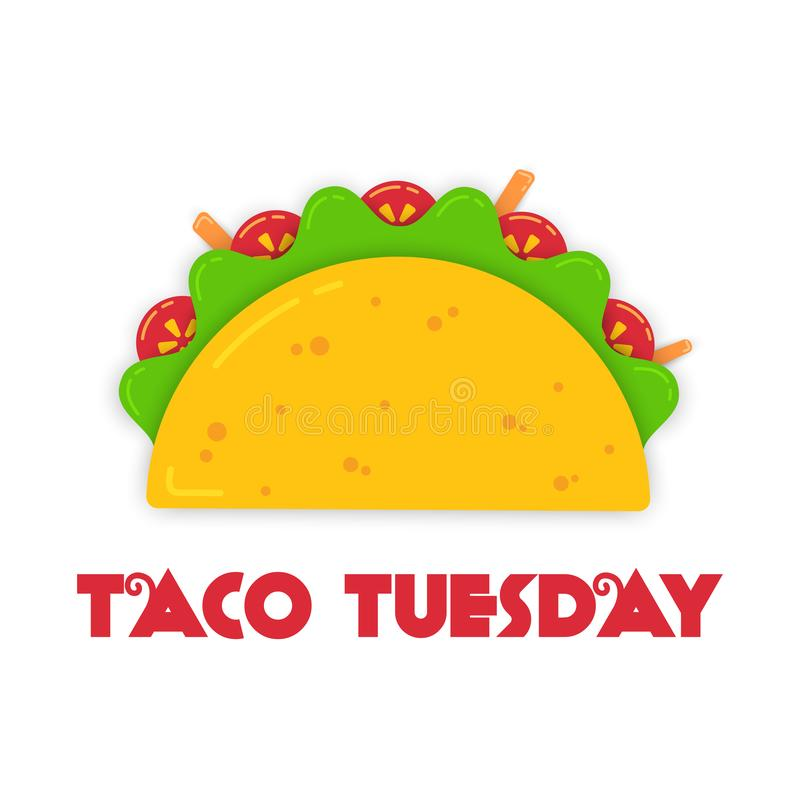 Traditional tacos meal tuesday event illustration stock illustration