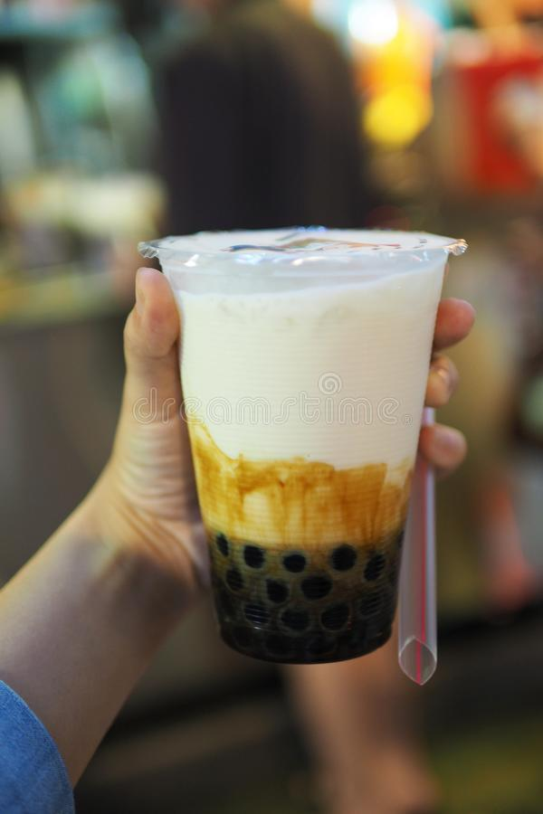 Traditional taiwan brown sugar bubble milk lava stock images
