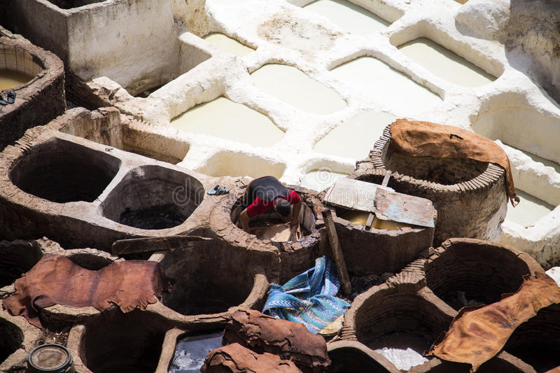 Traditional tannery iin Fez, Morocco stock photos