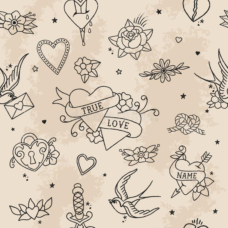 American Traditional Seamless Pattern Outline Love Elements royalty free stock photos