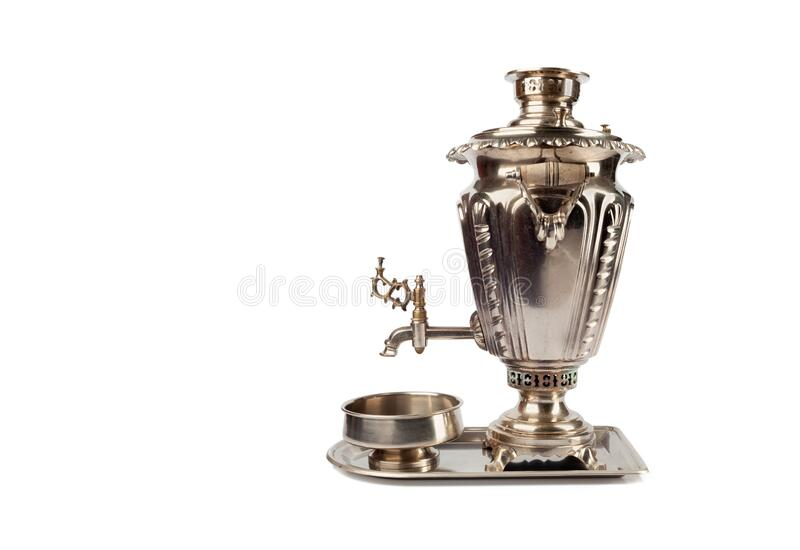 Traditional tea samovar on a tray isolated on white background.  royalty free stock images