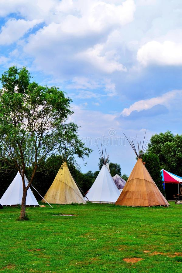 Traditional Teepee tent camping in germany on river lahn,. Traditional Teepee tent camping in germany near german river lahn, outdoor vacation stock images