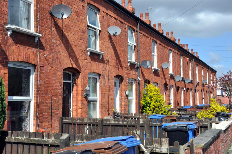 Row Of Traditional Northern English Red Brick Terraced Houses.