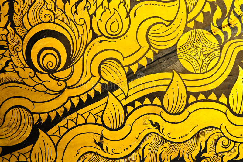 Traditional Thai Art. Close up of painting on surface of the royal barge, Bangkok, Thailand. Show the details of supreme work of Thai painting art stock photography