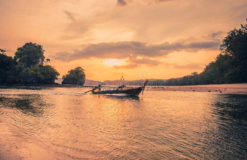 Traditional thai boat sunset beach Ao Nang Krabi royalty free stock photos