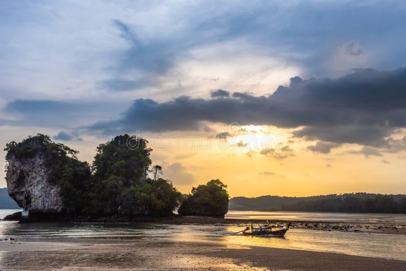Traditional thai boat sunset beach Ao Nang Krabi royalty free stock images