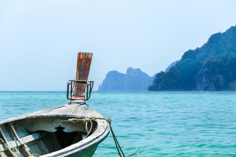 Traditional Thai Boat, Thailand, Phi Phi. Travel in Asia concept. Sea, vacation royalty free stock photos