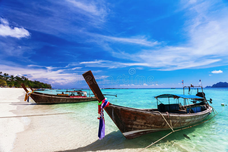 Traditional Thai boats near the beach royalty free stock photography
