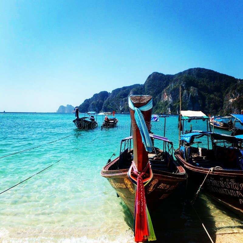 Long Beach Koh Phi Phi: Thai Traditional Boats. Phi Phi Island Stock Image