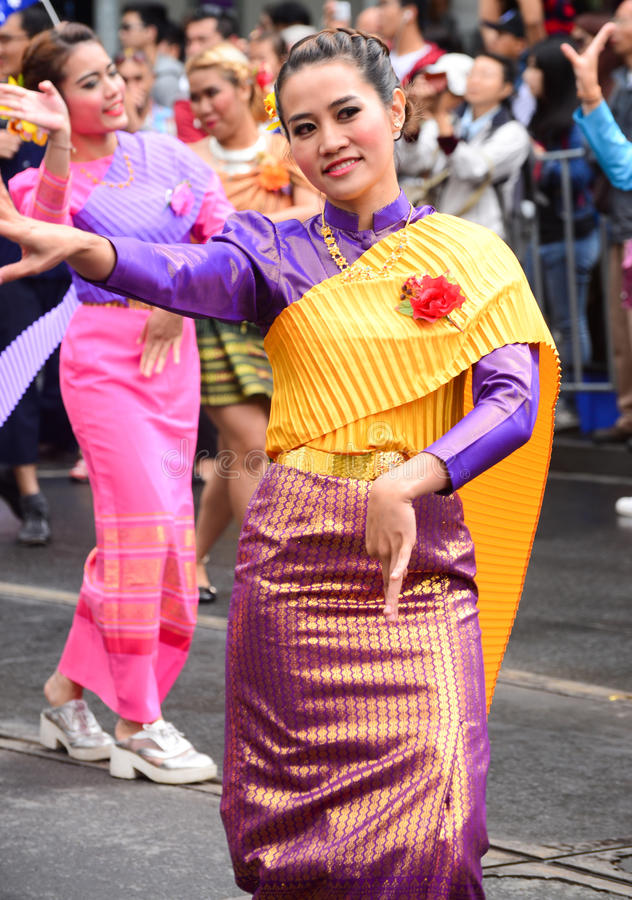 Traditional Thai chut thai. Traditional Thai clothing, chut thai at a festival in melbourne