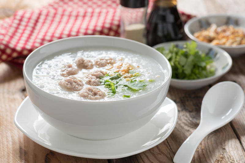 Traditional thai congee with minced pork. stock photos
