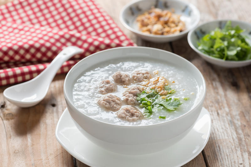 Traditional thai congee with minced pork. royalty free stock photo