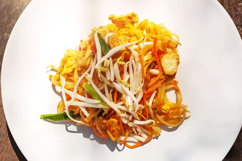 Traditional thai cuisine, pad thai royalty free stock photography
