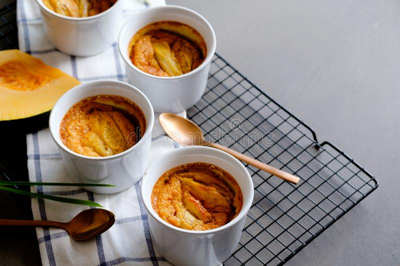 A traditional Thai dessert Pumpkin and egg custard infused lemon grass. close up view stock photo