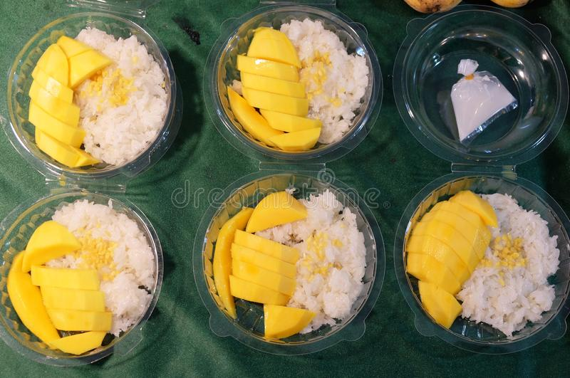 Traditional thai dessert, sticky rice with mango royalty free stock image