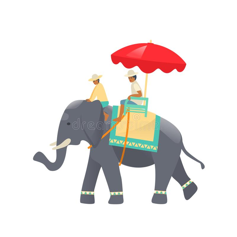 Traditional Thai elephant with beautiful decorative cloak, and riders. Traditional Thai animal elephant with thai decorative cloak, riders at top, sitting under royalty free illustration