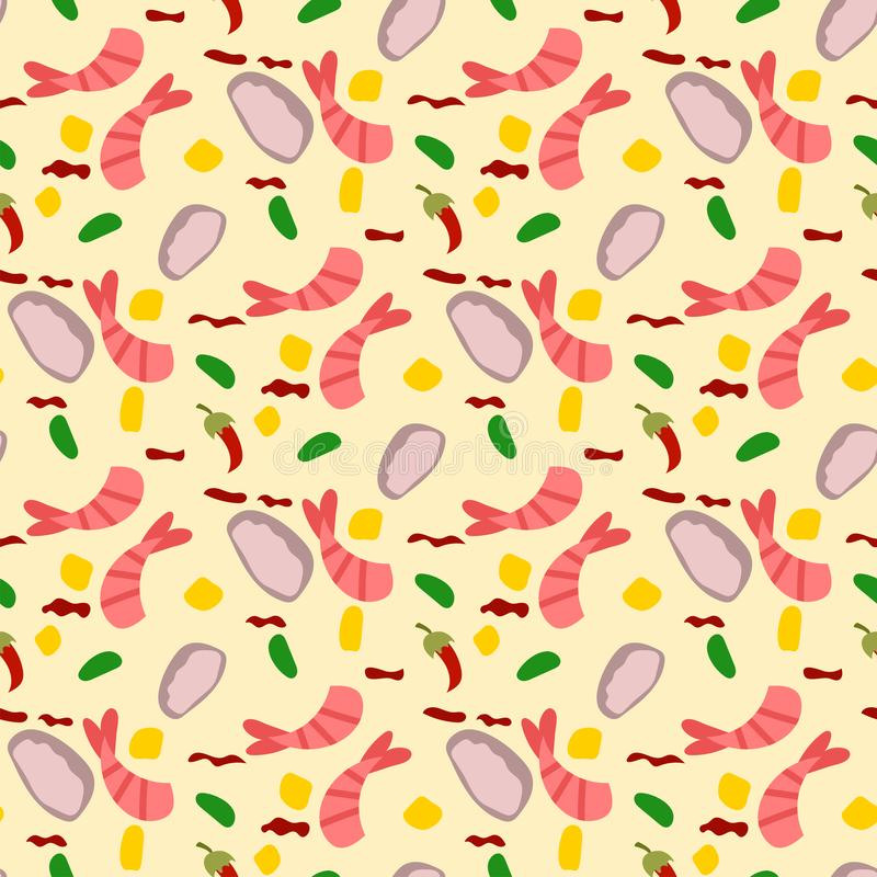 Traditional thai food asian cuisine thailand seafood prawn seamless pattern background cooking delicious vector stock illustration