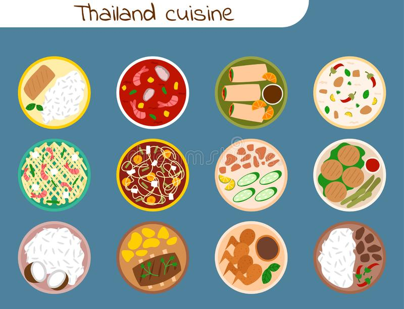 Traditional thai food asian plate cuisine thailand seafood prawn cooking delicious illustration. vector illustration
