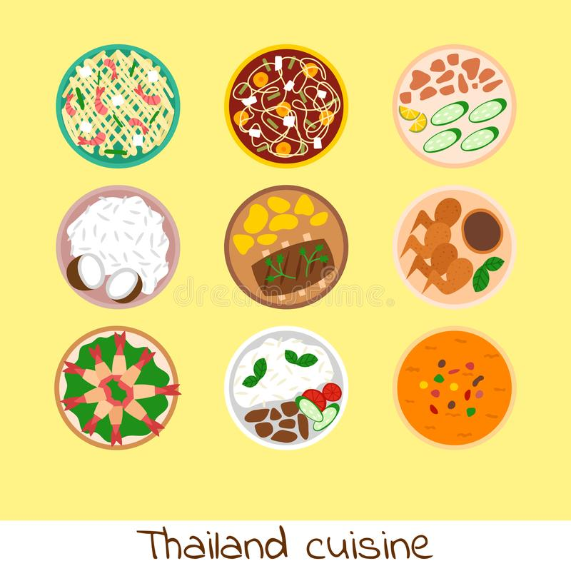 Traditional thai food asian plate cuisine thailand seafood prawn cooking delicious vector illustration. stock illustration