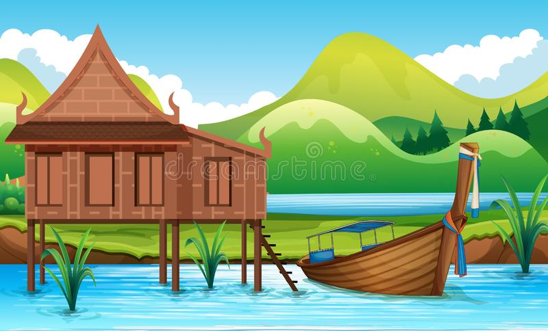 Traditional Thai house next to river royalty free illustration