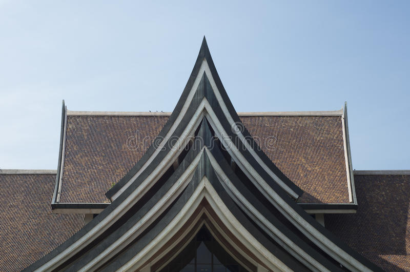 Traditional Thai house style roof . royalty free stock photos