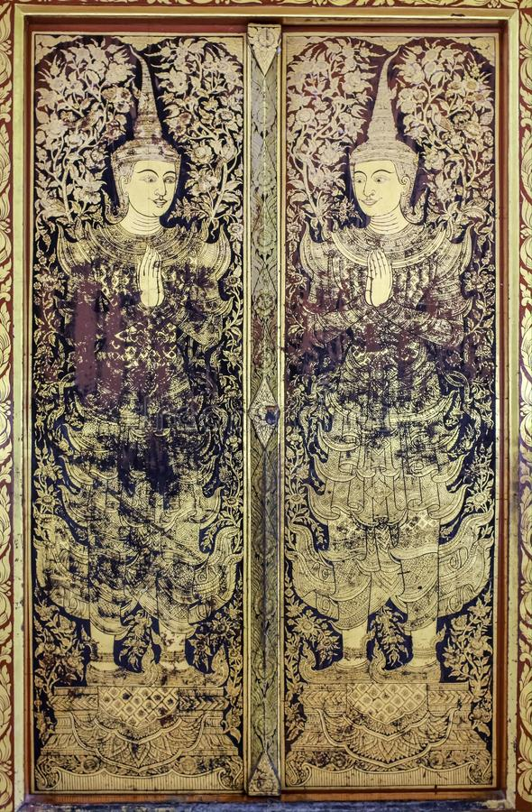 Traditional Thai painting art in temple royalty free stock photo