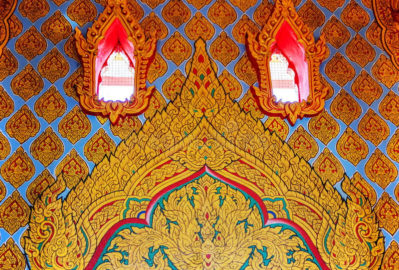 Traditional Thai style art painting on wall in temple stock images