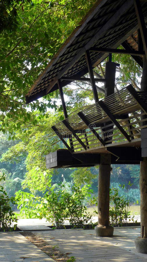 Traditional Thai style balcony with river view stock photos