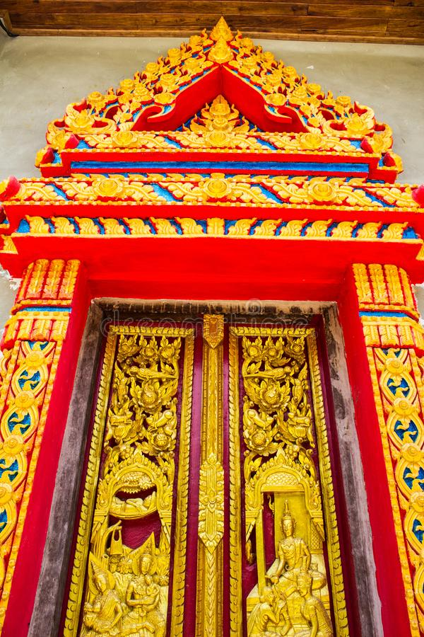 Traditional Thai style church door stock images
