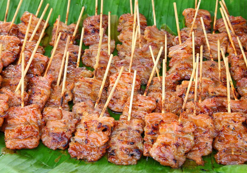 Download Traditional Thai Style Grilled Pork  On The Banana Stock Image - Image: 25224379