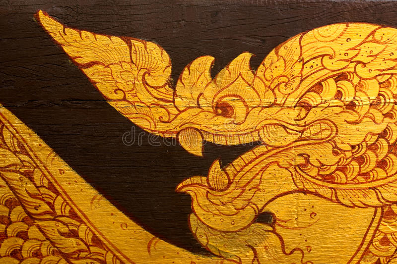 Traditional Thai style painting. On surface of barge, Thailand royalty free stock photo