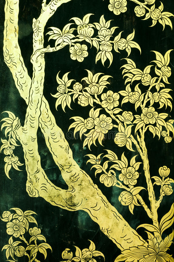 Traditional Thai style painting art stock photo