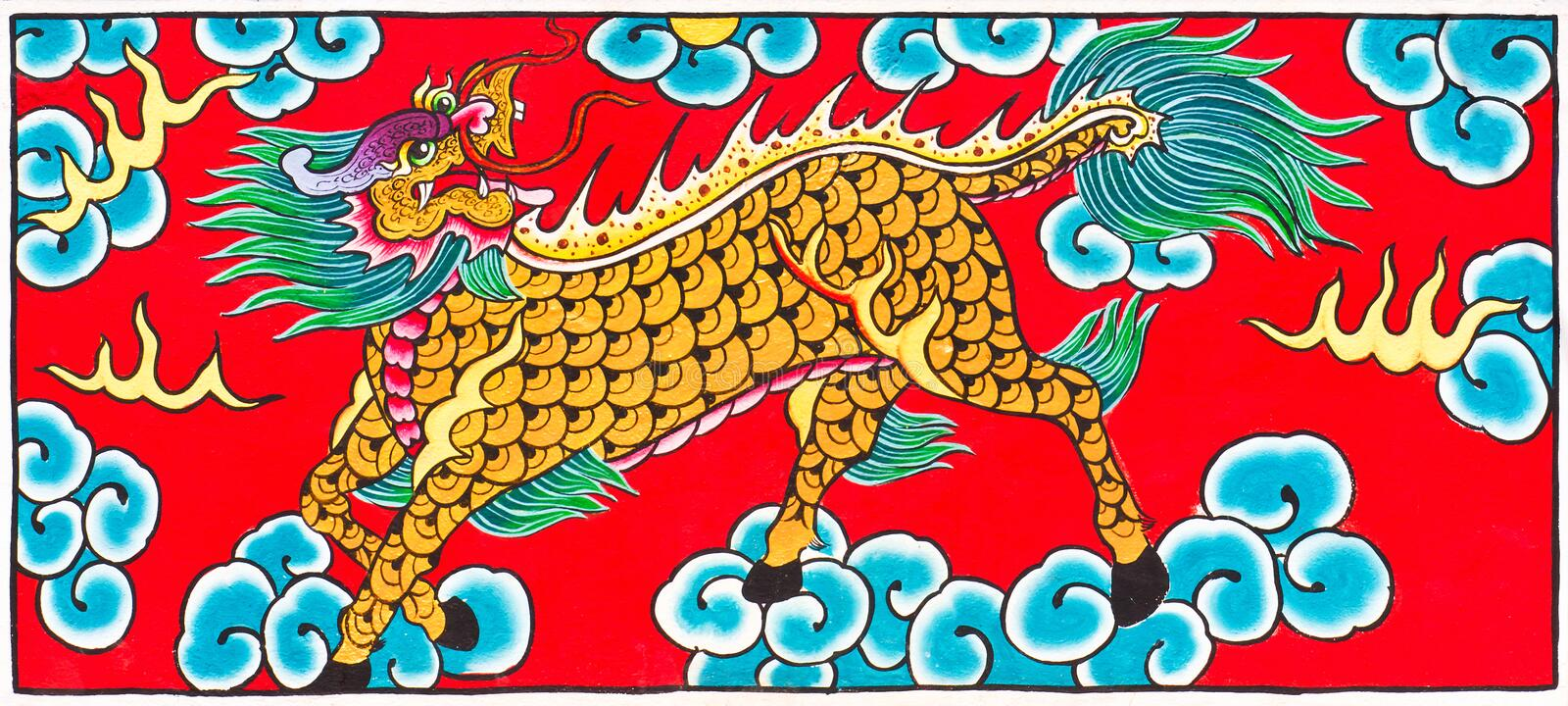Traditional Thai style painting art Horse Dragon. Traditional Thai style painting art Horse head Dragon on temple wall,Thailand.Generality in Thailand, any kind royalty free stock photo