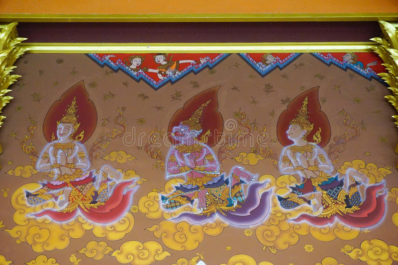 Traditional Thai style painting art on temple wall, Thailand stock image