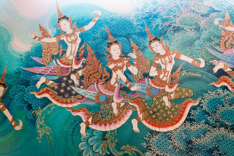 Traditional thai style painting image on the wall temple royalty free stock photography