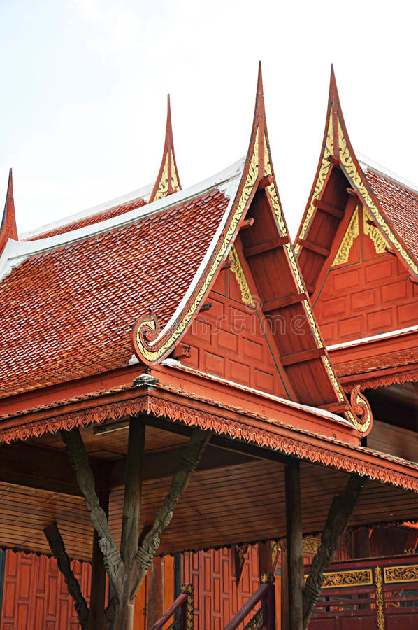 Traditional Thai style roofs and gables stock photography
