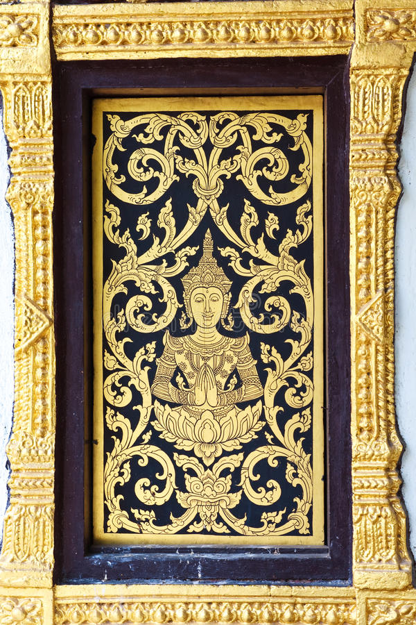 Traditional Thai Style Window  Temple Royalty Free Stock Photography