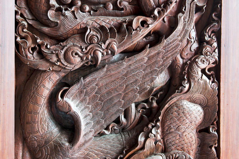 Traditional Thai style wood carving royalty free stock image