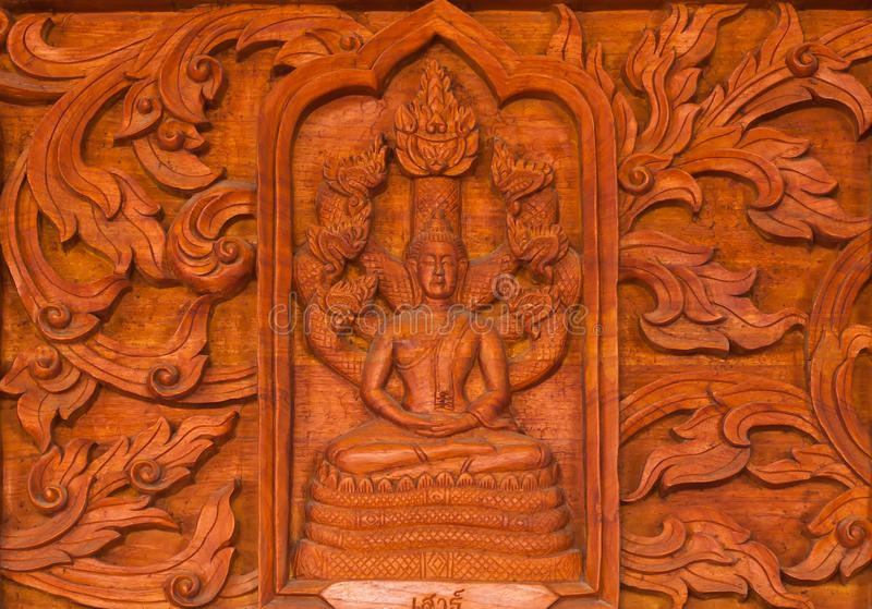 Traditional Thai style wood carving in Thai temple royalty free stock photo