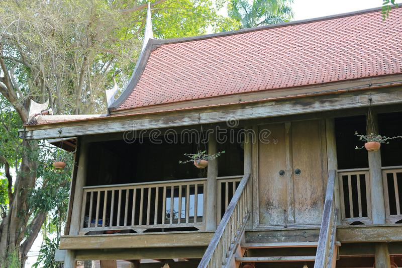 Traditional thai teak wood house stock photography