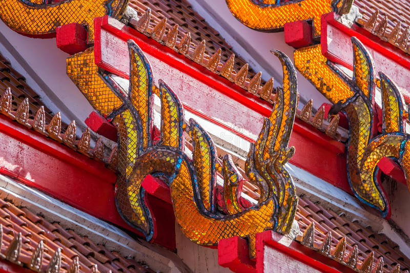 Traditional Thai temple roof details. Wat Mongkol Nimit temple in Phuket town, southern Thailand stock images