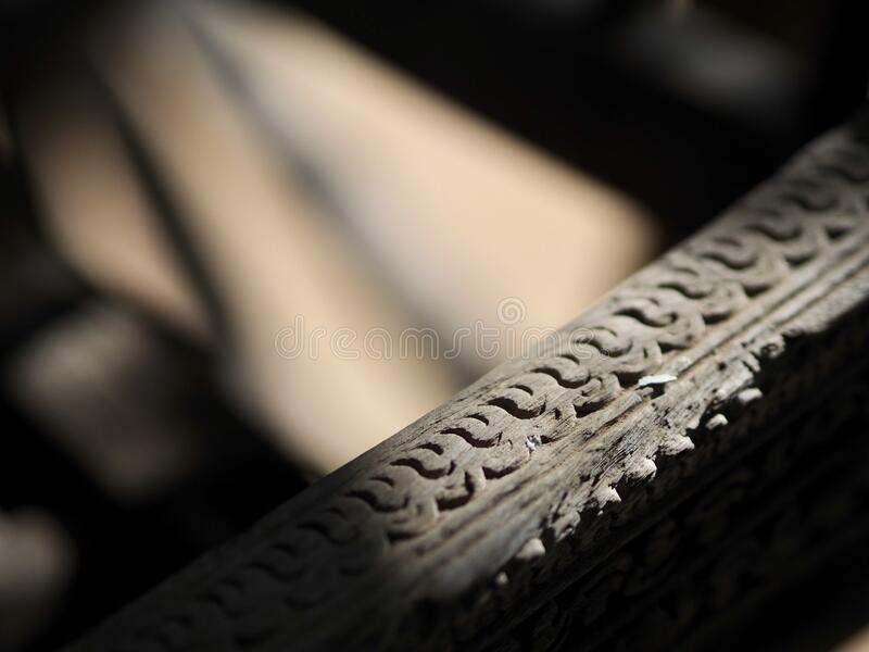 Traditional Thai Wood carvings on wagon royalty free stock photos