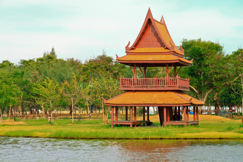 Traditional Thai Wooden House. Stock Photo