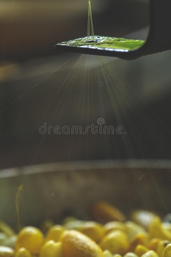 Traditional Thailand processing silk thread from cocoons, Silk Production Process, Selective focus and motion blur in action royalty free stock image