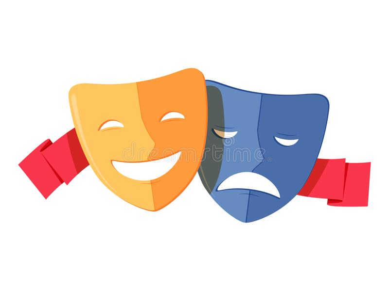 Traditional theater symbol, comedy and tragedy masks with red ribbon. Yellow happy and blue sad mask icon royalty free illustration